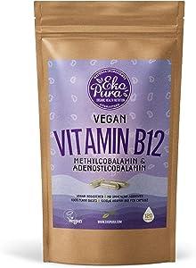 Vegan Vitamin B12 - Methylcobalamin & Adenosylcobalamin 1000mcg - 120 Small Capsules, 4 Months Stock