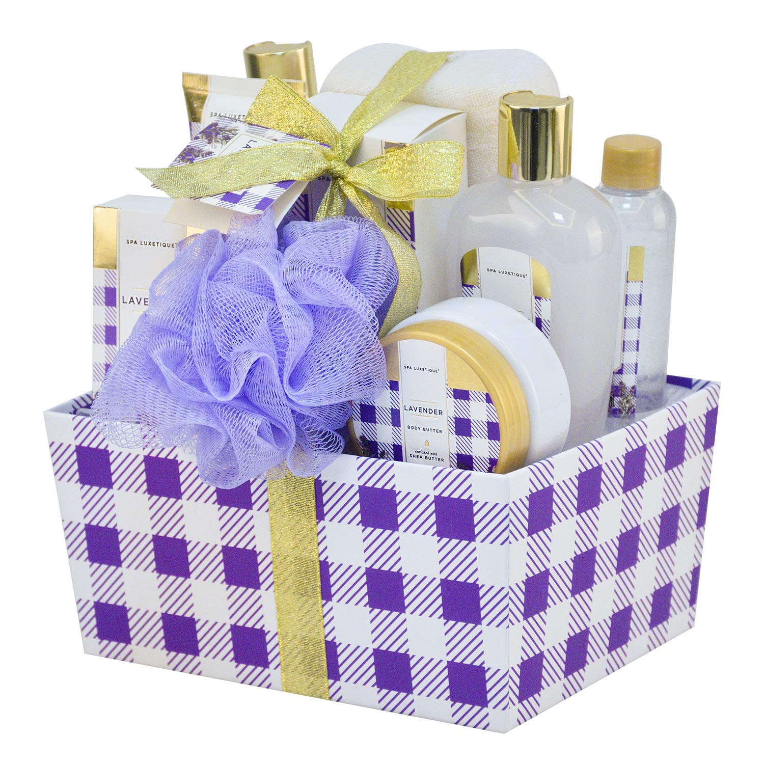 Spa Luxetique Bath Spa Gift Basket Lavender Fragrance, Premium 10pc Gift Baskets for Women, Home Spa Gift Set with Soap, Body Butter, Hand Soap, Bath Puff, Body Lotion, Best Gift Set for Women. by spa luxetique