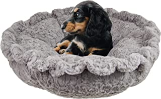 product image for BESSIE AND BARNIE Ultra Plush Serenity Grey/Blue Sky Luxury Deluxe Dog/Pet Cuddle Pod Bed