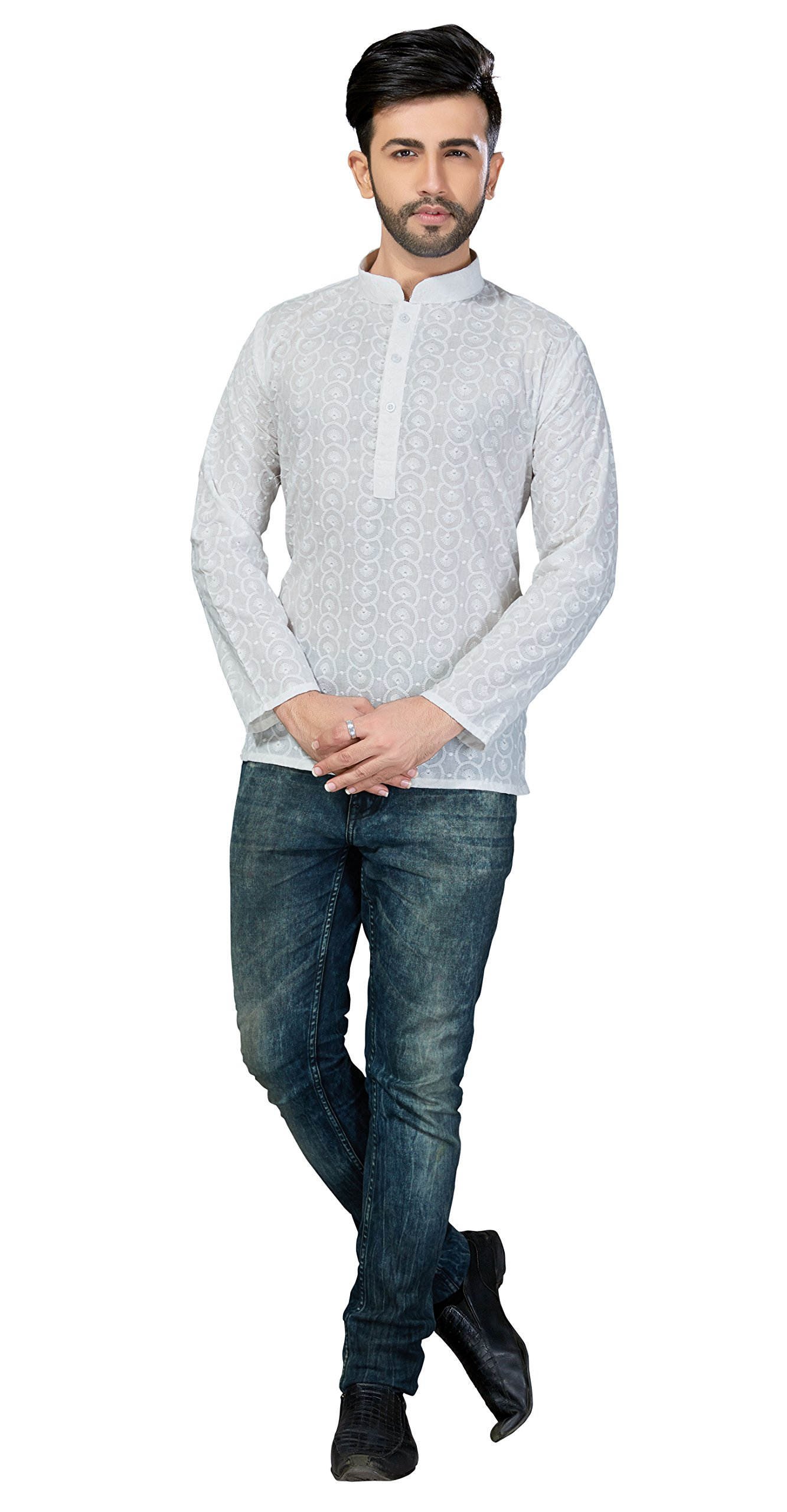 TrendyFashionMall Mens Traditional Embroidery work Short Kurta White01 Small-38