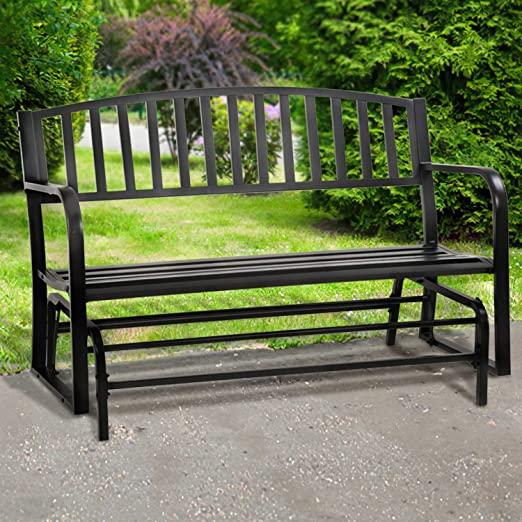 Patio Glider Bench for Outside Garden Bench Metal Patio Bench with Armrests Sturdy Steel Frame Furniture Iron Steel Frame Chair,300LBS Weight Capacity, for Front Porch, Yard, Lawn, Pool