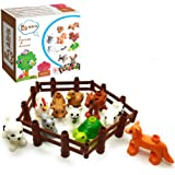 Aliris 10 Farm Animals - 5 Fences Family Pets Figures for Toddler -Compatible with Leading Brand Building Blocks