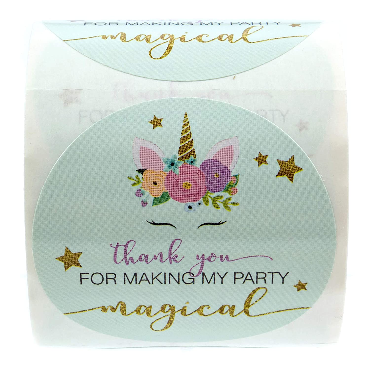 250 Thank You Stickers Per Roll SBlabels 2 Unicorn Stickers//Faux Glitter Thanks for Making My Party Magical Sticker
