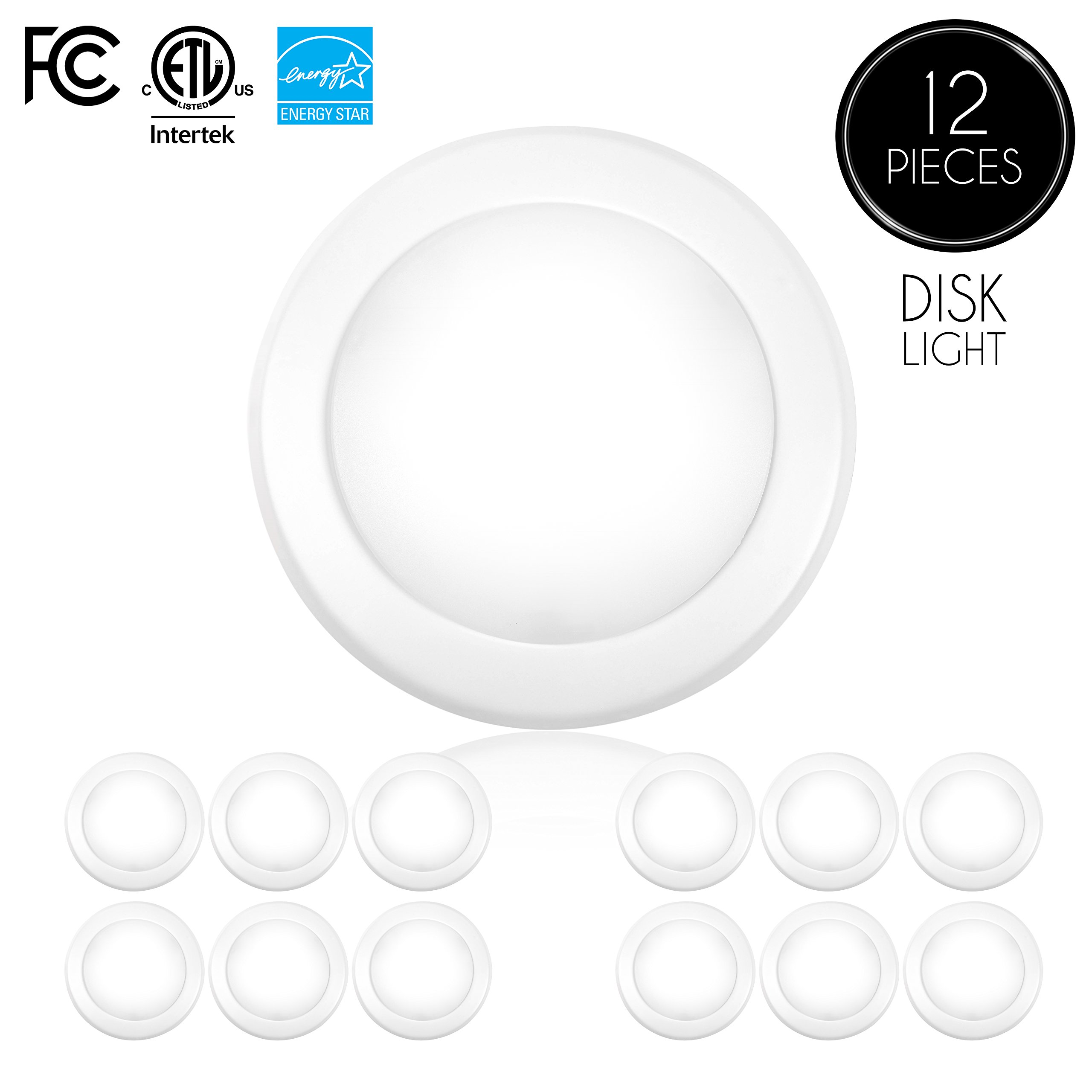 """Parmida (12 Pack) 5/6"""" Dimmable LED Disk Light Flush Mount Ceiling Fixture, 15W (120W Replacement), 5000K (Day Light), ENERGY STAR, Installs into Junction Box Or Recessed Can, 1050lm"""