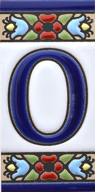 """Image ofLetreros con numeros y letras en azulejo de ceramica, pintados a mano en técnica cuerda seca para nombres y direcciones. Texto personalizable. Diseño FLORES MINI 7,3 cm x 3,5 cm. (LETRA """"O"""")"""