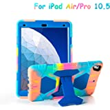 """iPad Air 10.5"""" 2019/iPad Pro 10.5 2017 Case, ACEGUARDER Ultra Protective Rugged Cover with Kickstand for Kids Shockproof Impact Resistant - Icecream/Blue"""