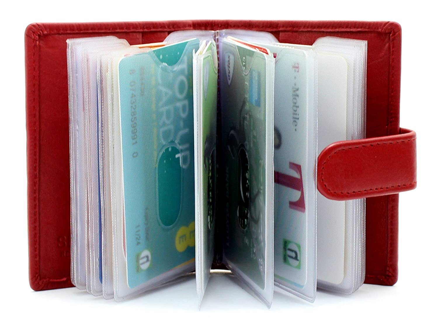 Soft Genuine Leather Credit Card Holder Wallet With Removable plastic Sleeves