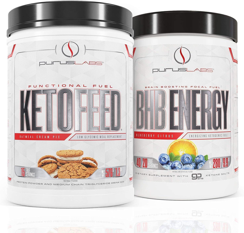 Purus Labs Ketofeed Savory Chocolate Cream & BHB Energy Blueberry Citrus Stack