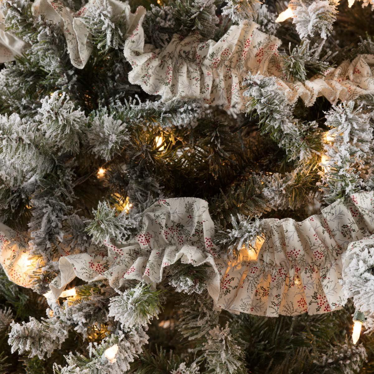 VHC Brands Farmhouse Holiday Decor - Carol White Garland Set of 3, Grey