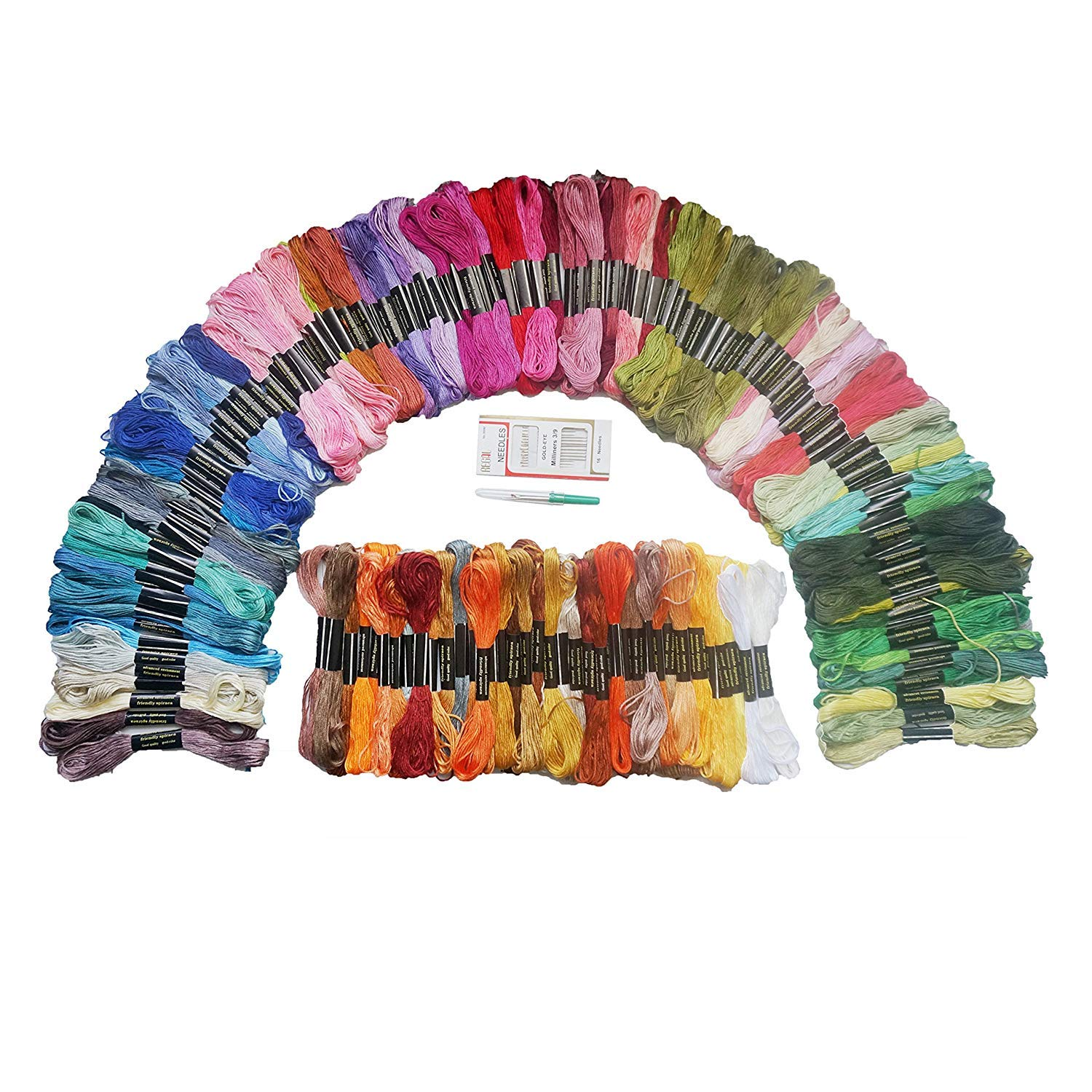 Gnognauq 150 Set Embroidery Floss Cross Stitch Floss Cross Stitch Thread with Free Needle Threader Untwist Tool for Crafters