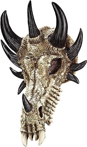 Design Toscano PD203 Manchester's Dragon Bones Sculptural Skull Wall Trophy,full color