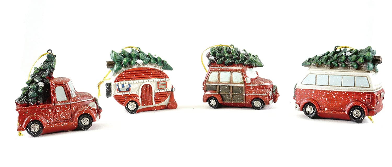 Gerson Christmas Vacation Vehicle Hauling Tree Hanging Ornaments Set of 4
