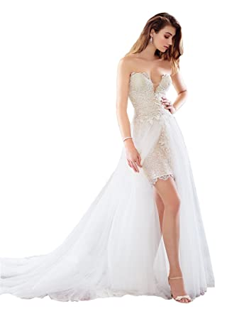 39b6e877b3 Lazacos Women s Sweetheart Lace Applique Detachable Train Short Beach  Wedding Dress White US2