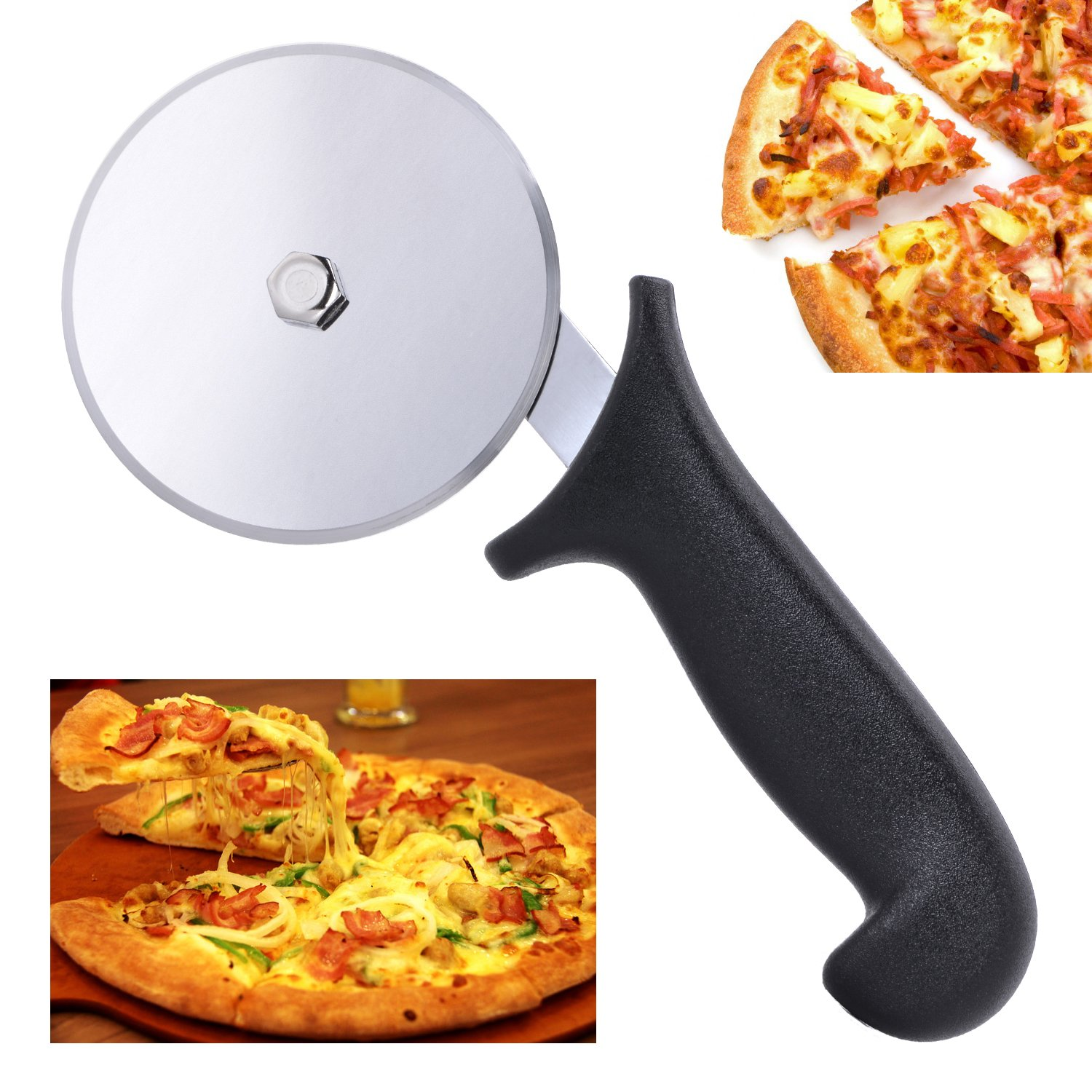 Lennov Premium Pizza Cutter, Stainless Steel Razor Sharp Wheel Slicer with Black Handle, Cuts Effectively Without Ruining Your Toppings, for Home Kitchen and Professional Use