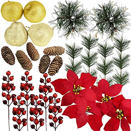 26 Pcs Assorted Artificial Winter Christmas Table Decorations Set Table Scatter Vase Bowl Fillers Golden Glitter Apples Pears Mini Pine Cones