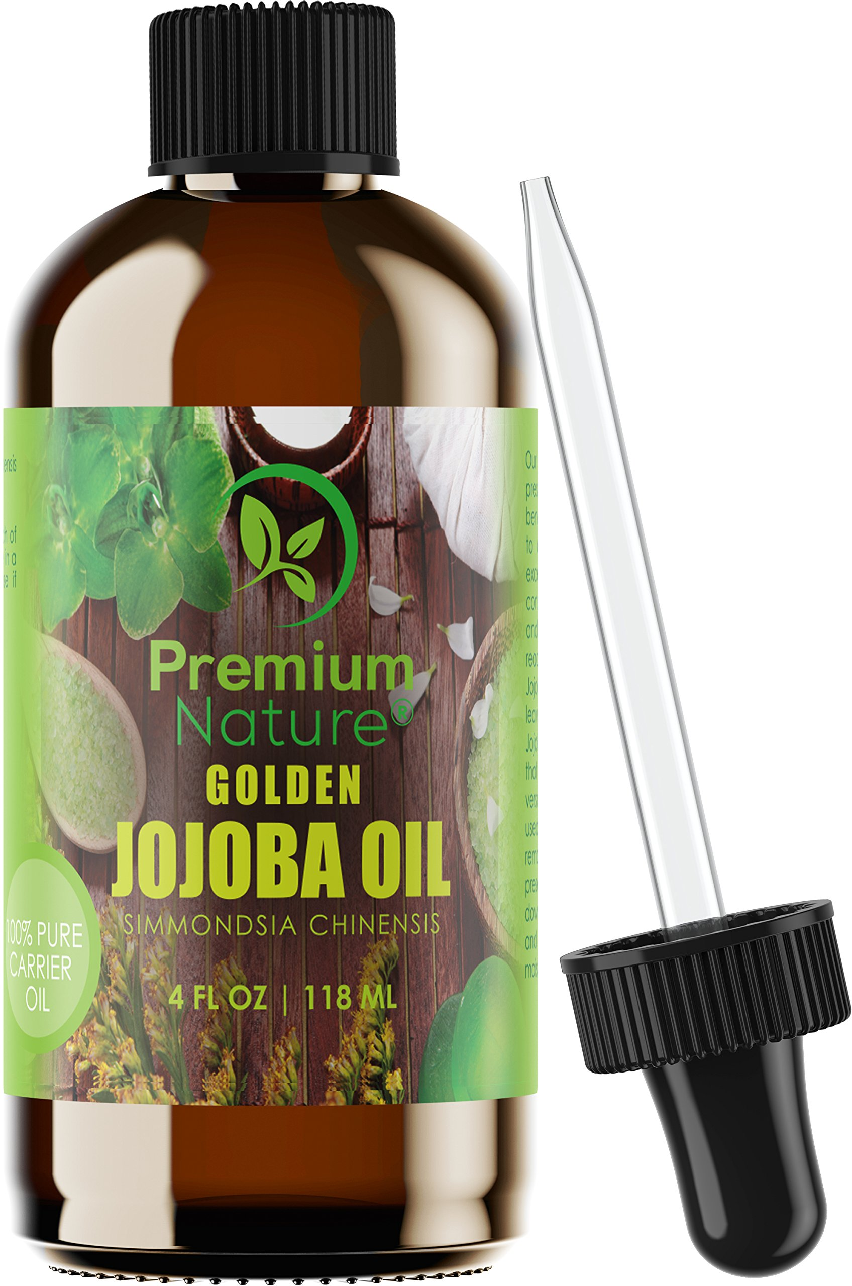 Golden Jojoba Oil Pure Natural - 4 oz Cold-Pressed Unrefined Natural Oil For Essential Oils -Facial Cleaner Face Hair Nails & Skin Remove Makeup - Hypoallergenic & Anti-Inflammatory - Premium Nature
