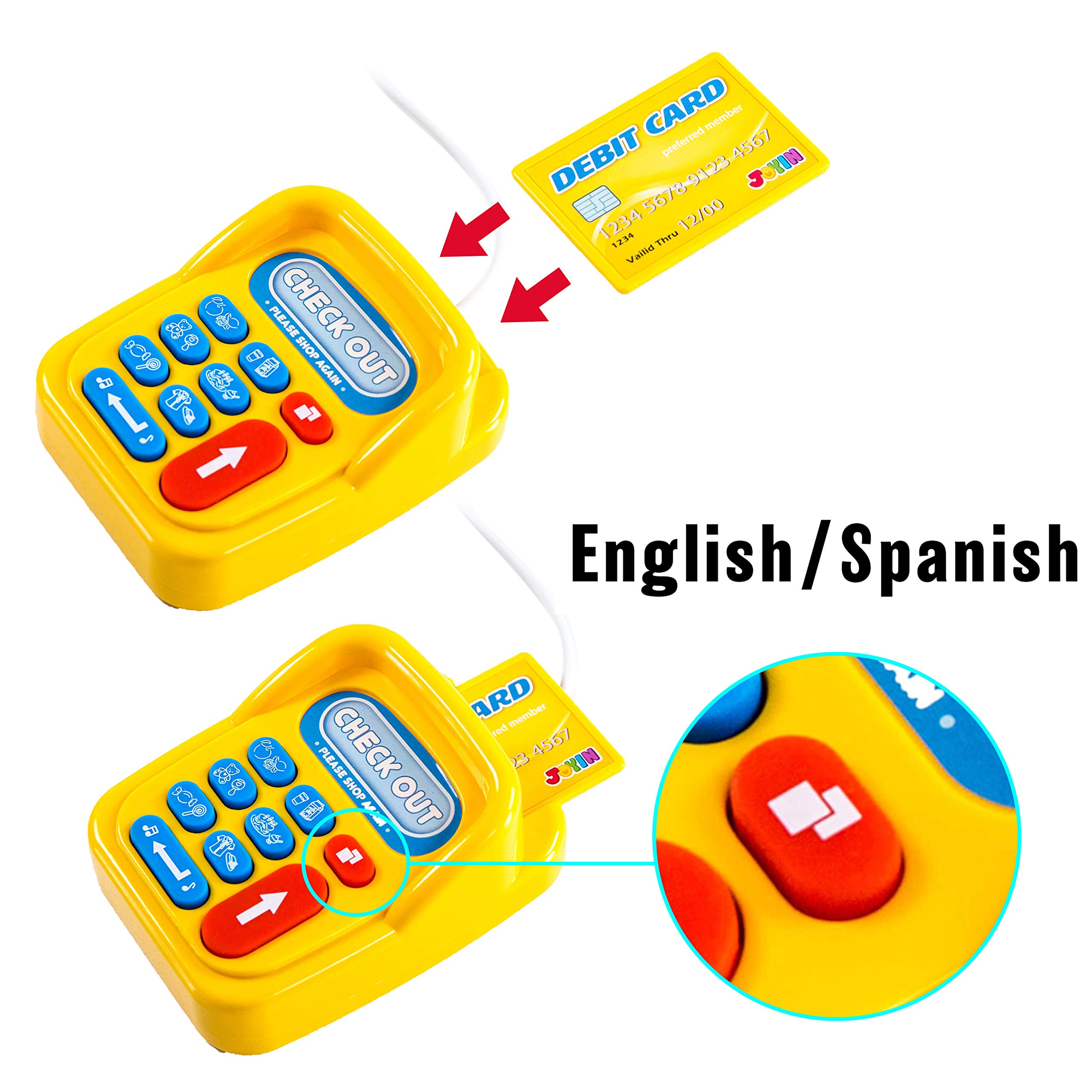 Toy Cash Register Shopping Pretend Play Money Machine with Dual Languages, Scanner, Card Reader and Grocery Play Food Set for Kids Boys and Girls Gifts, Toddler Interactive Learning, Teaching Tools. by JOYIN (Image #2)