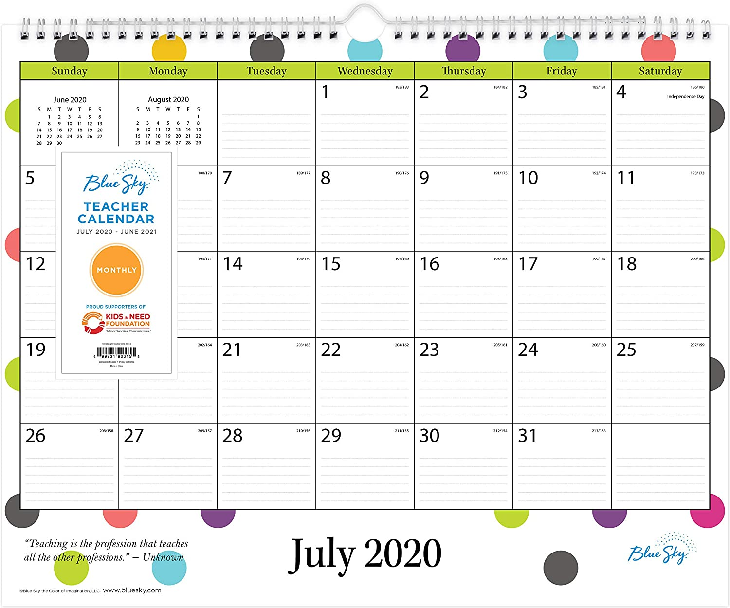 Calendar Years That Match 2021 Amazon.: Blue Sky 2020 2021 Academic Year Teachers Monthly