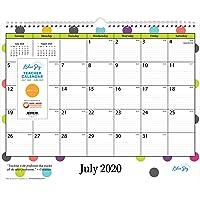 "Blue Sky 2020-2021 Academic Year Teachers Monthly Wall Calendar, Twin-Wire Binding, Ruled Blocks, 15"" x 12"", Dots"