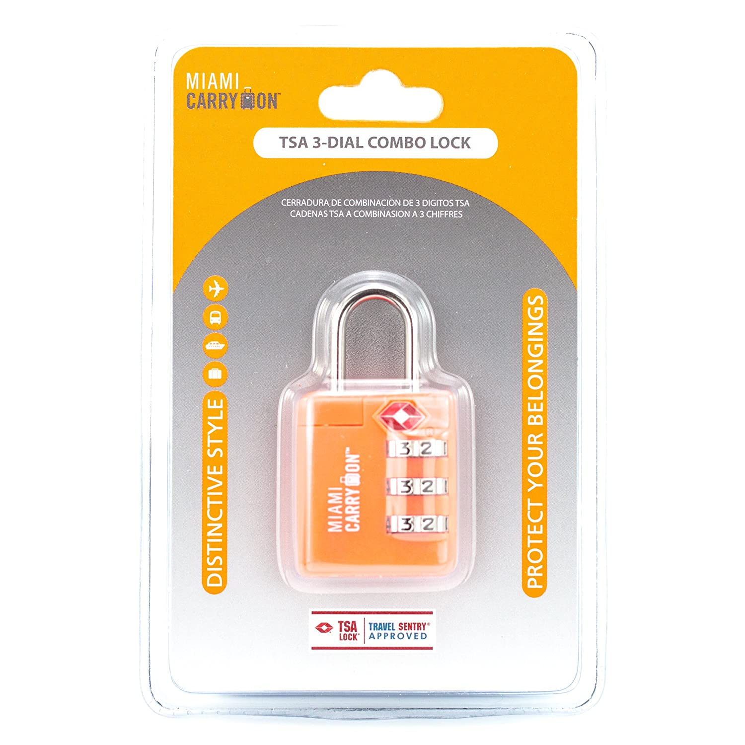 Amazon.com: TSA Combination Padlock - Miami Carry On - Set Your Own Combination TSA Accepted Luggage Lock, 1-3/16 inch Wide - Neon Orange (1 Pack): Clothing