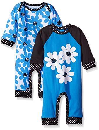 Gerber Girls' 2 Pack Coveralls, Daisies, 6-9 Months