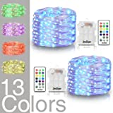 2 Sets 16.4 ft Fairy Lights Silver Wire 50 LED String Lights Battery Operated Waterproof 13 Colors Changing Firefly Lights Dimmable with Remote for Indoor Bedroom Wedding Valentines Party Decor Patio