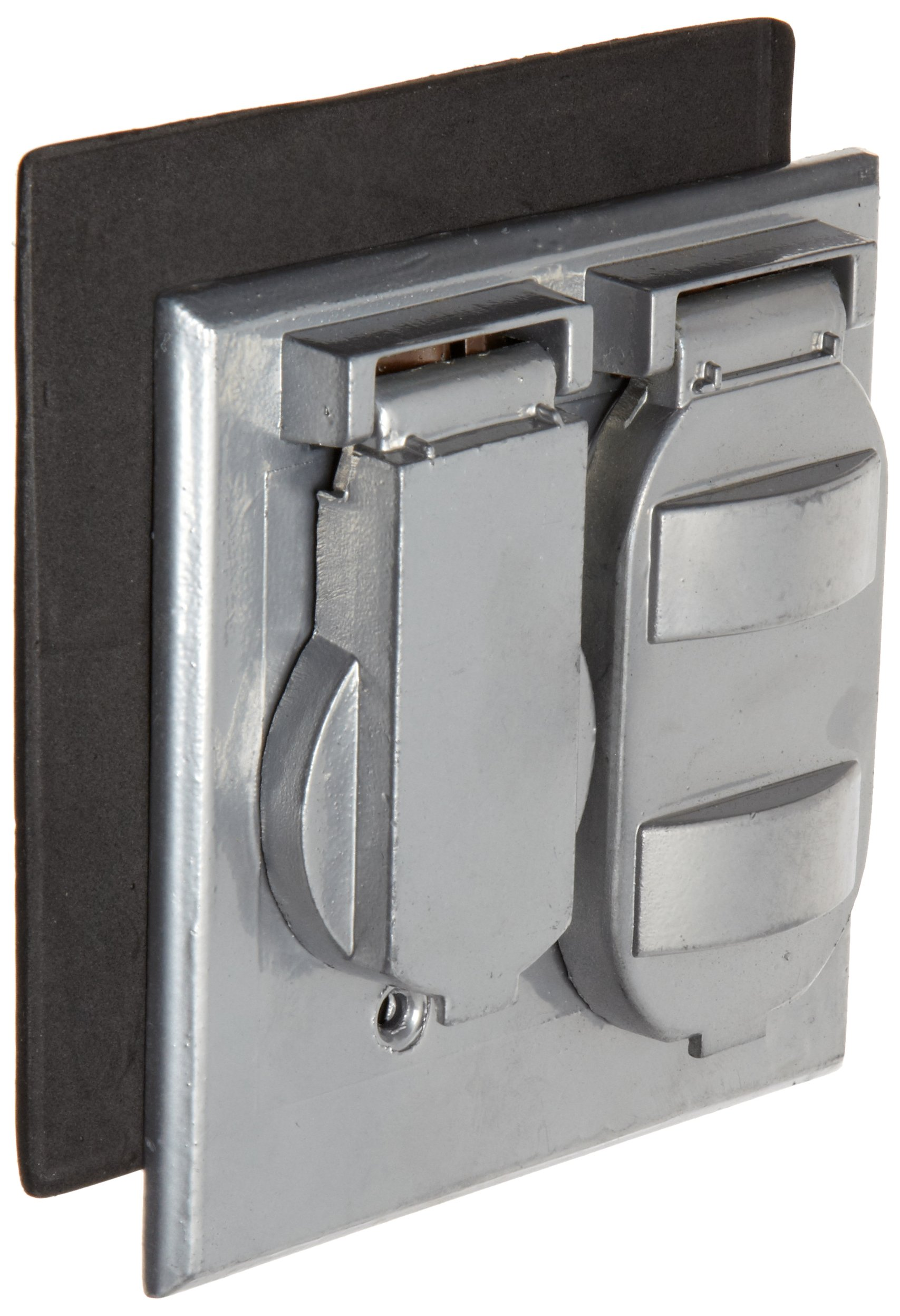 Morris Products 37230 Weatherproof Cover, Two Gang, 1 Single Receptacle and 1 Duplex Receptacle, Gray