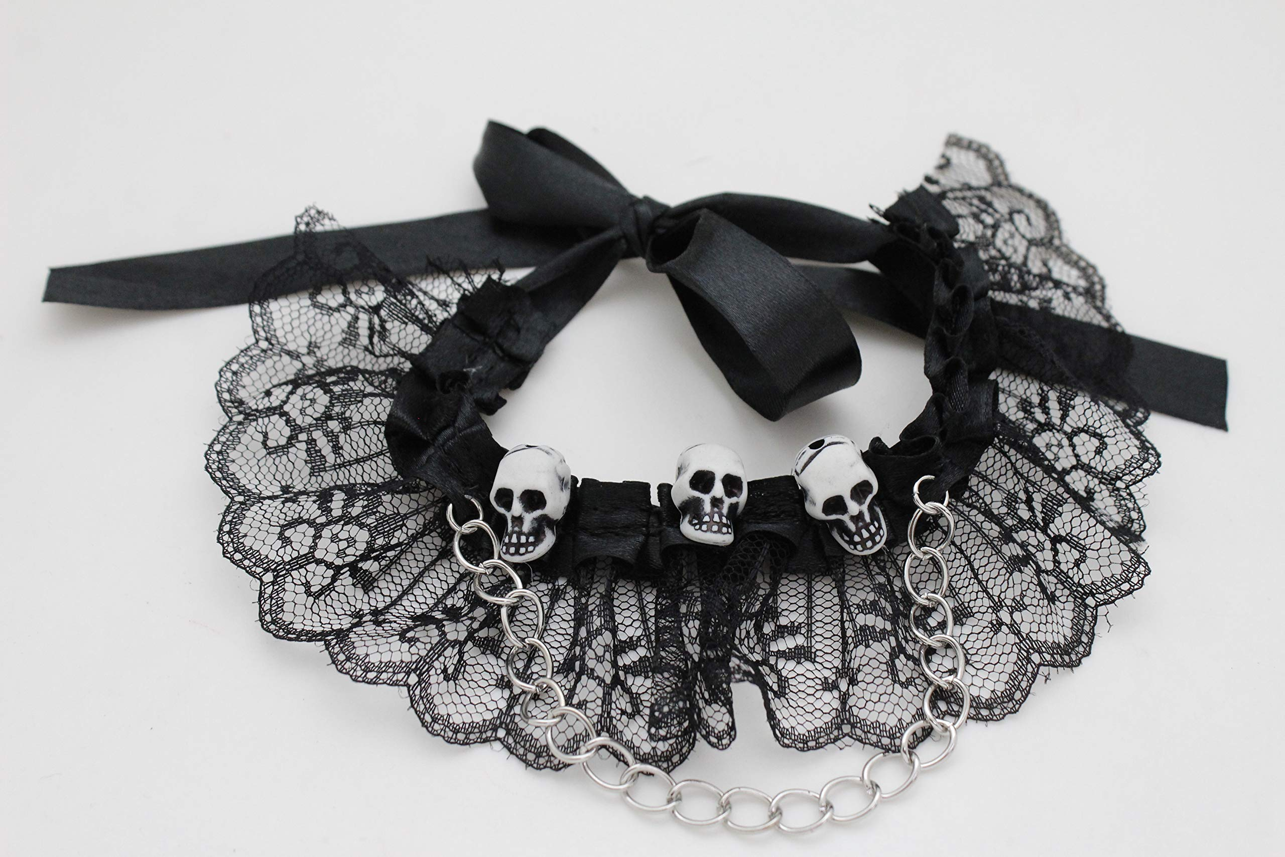 TFJ Women Black Lace Tie Band Boot Chain Bracelet Silver Metal Skeleton Skull Shoe Charms