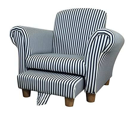 Kids/Childrens/Toddler Striped Fabric Chair Armchair With Footstool
