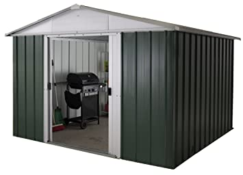 Yardmaster International 108 GEYZ 10 x 8 ft Deluxe Metal galpón - Verde/Plata: Amazon.es: Jardín