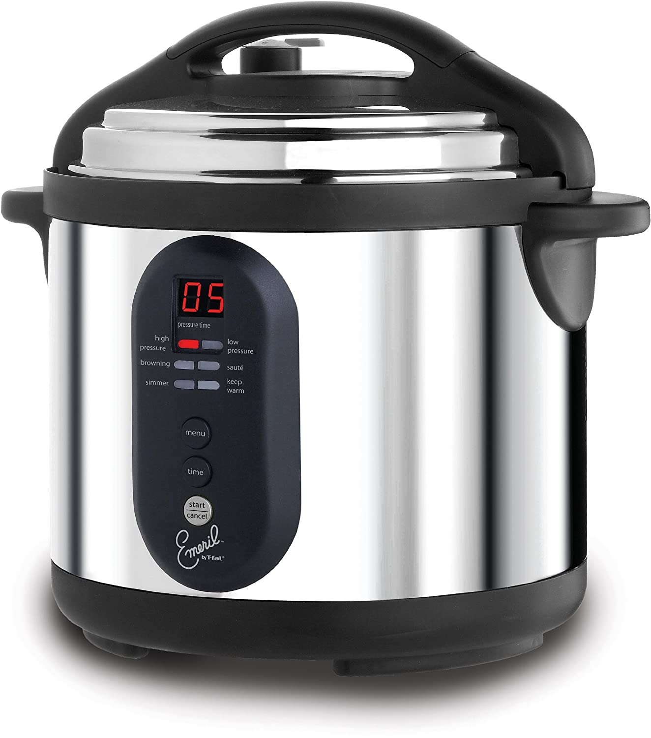 Emeril by T-fal CY4000 Nonstick Dishwasher Safe Electric Pressure Cooker, 6-Quart, Silver