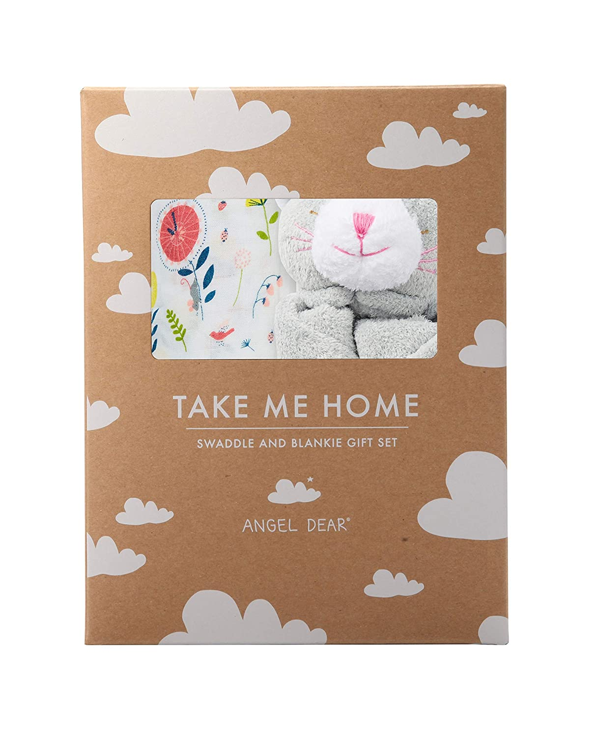Angel Dear Swaddle and Blankie Gift Set, Hickory Dickory Dock with Grey Kitty