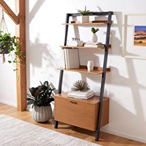 Safavieh Home Collection Vlad Natural and Charcoal 3-Shelf Etagere