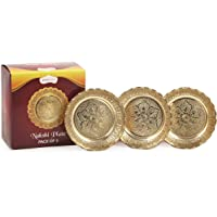 Shubhkart Nakshi Plate (Pack of 3), Handmade Brass Indian Plate for Puja (Large)