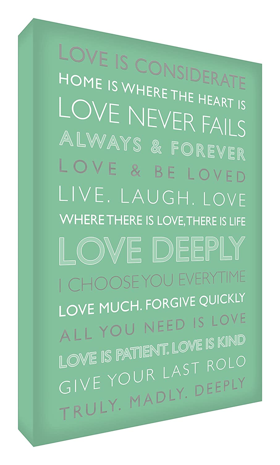 Feel Good Art Love Deeply Gallery Wrapped Box Canvas with Solid Front Panel from the Inspiration Collection (91 x 60 x 4 cm, X-Large, Sky Blue) LVDP2436-23/NV