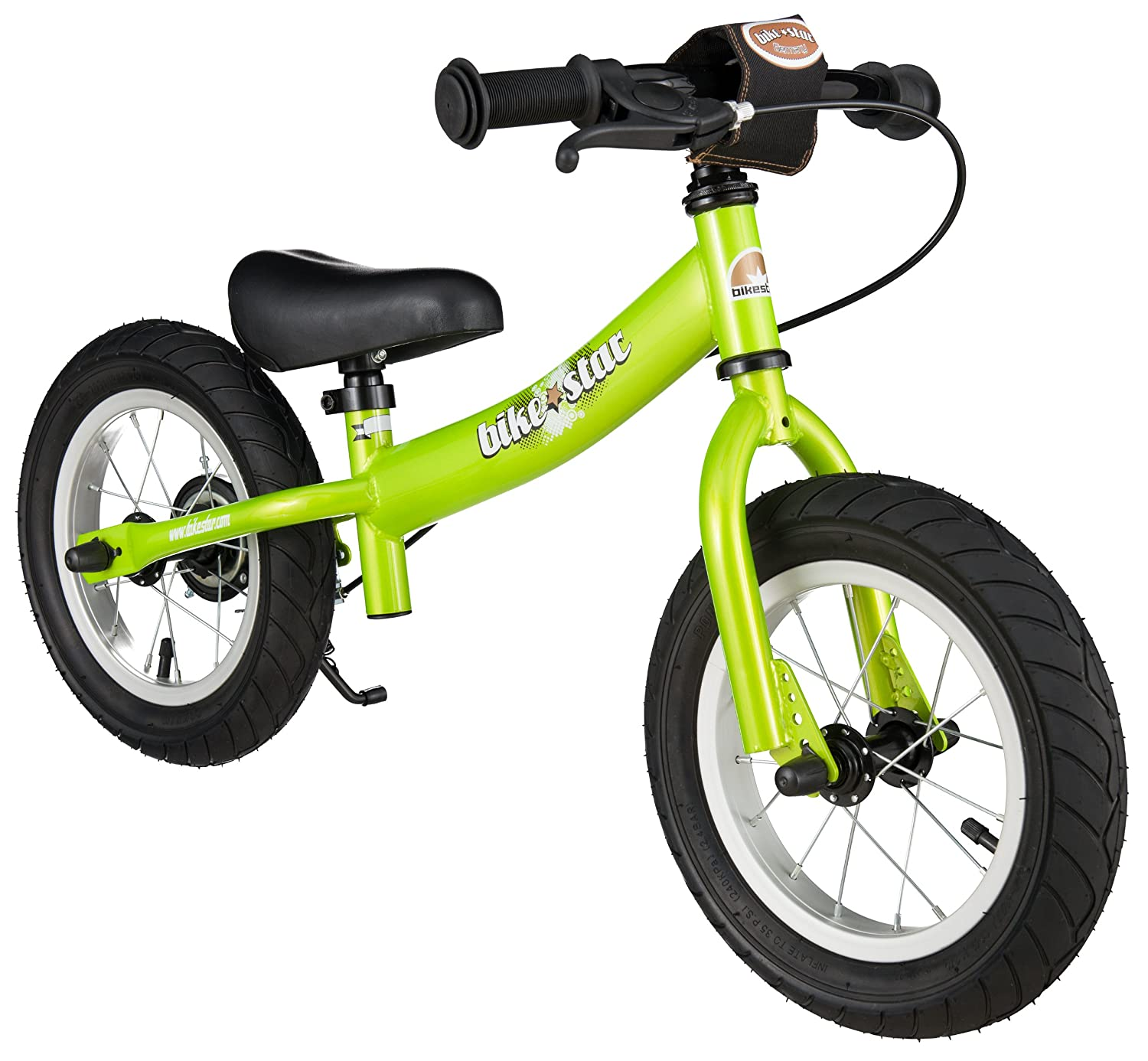 BIKESTAR Original Safety Lightweight Kids First Balance Running Bike with brakes and with air tires for age 3 year old boys and girls | 12 Inch Sport Edition | Brilliant Green Star-Trademarks