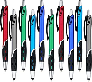 Stylus Pens - 2 in 1 Touch Screen & Writing Pen, Sensitive Stylus Tip - For Your iPad, iPhone, Kindle, Nook, Samsung Galaxy & More - Assorted Colors, 10 Pack