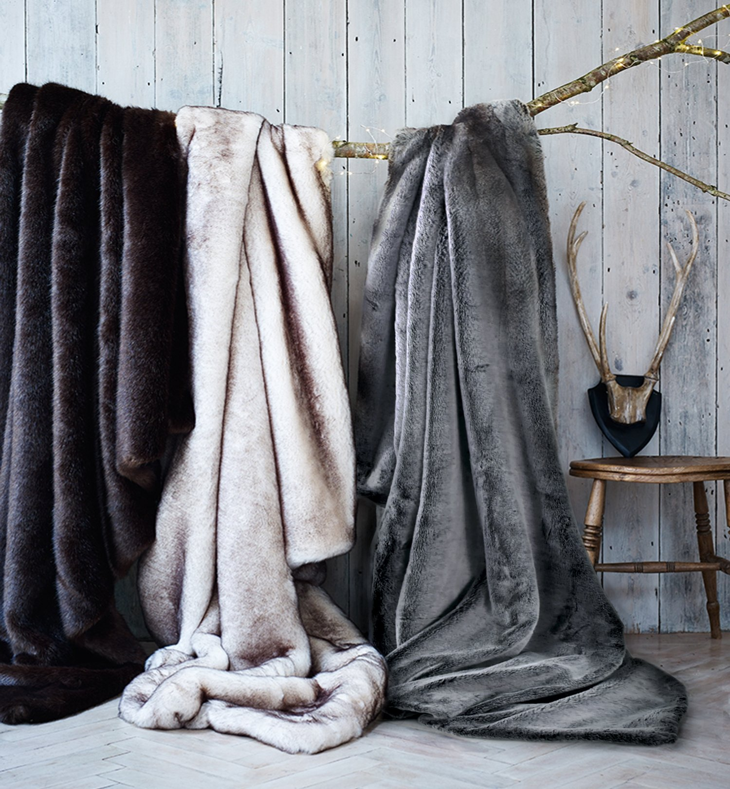 Luxury Faux Fur Oversized Throw Blanket with Plush Velvet Reverse, Fox Lynx or Gray Mink (Double Sided Frost)