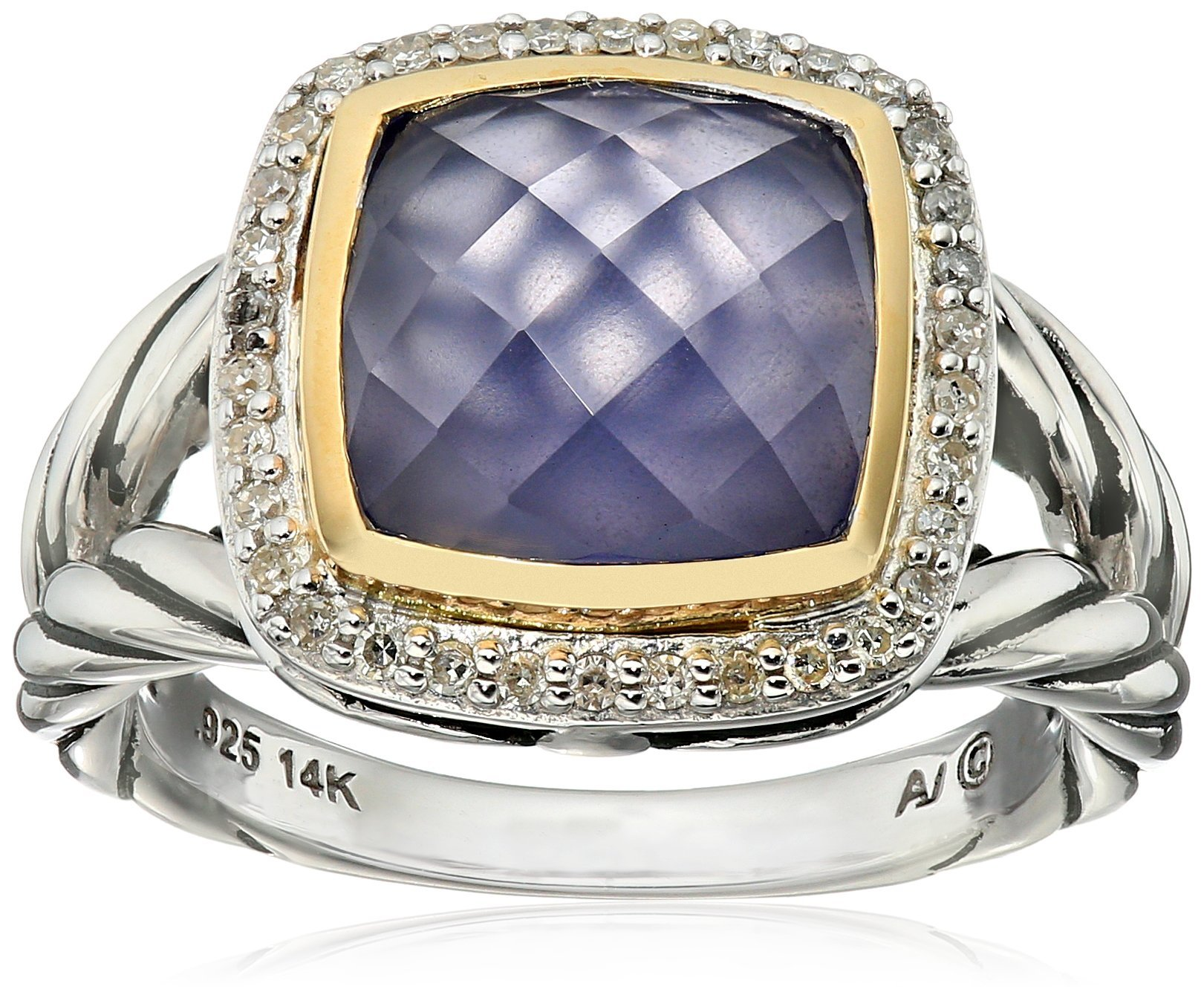 SG Sterling Silver and 14k Yellow Gold Cushion Cut Blue Chalcedony with Diamond Ring (1/10cttw, I-J Color, I2-I3 Clarity), Size 7