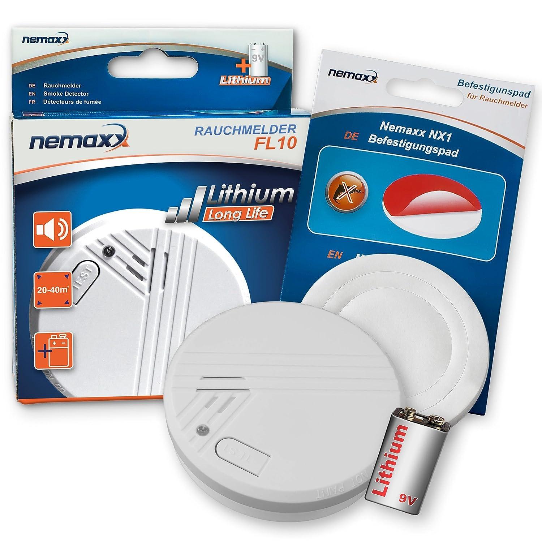 Nemaxx FL10 detectores de Humo Según la Norma DIN EN 14604 de Litio Batería NX1 Soporte magnético para Detector de Humo Detector de Humo, 1FL10NX1