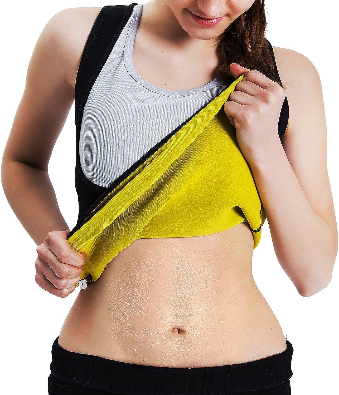 Roseate Chaleco de Neopreno para Mujer con Forma de Cuerpo y Sudor Caliente, para Adelgazar, sin Cremallera, Color Negro y Amarillo