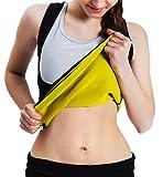 Roseate Women's Body Shaper Hot Sweat Workout Tank Top Slimming Vest Tummy Fat Burner Neoprene Shapewear for Weight Loss, No Zipper, Black/Yellow M