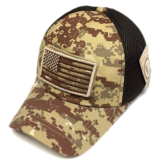 Pitbull Military Army Desert Khaki Brown Camo Vintage Cotton Cap USA Flag  Patch Trucker Mesh Baseball Hat Dad Hat Army Gear  Amazon.co.uk  Clothing 09981931faa9