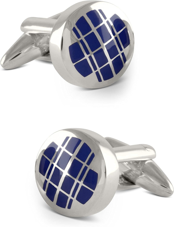 Zaunick Gemelos de doble cuadrícula de plata 925 en azul marítimo hechos a mano