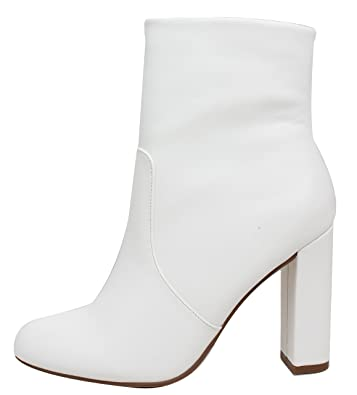Women's Almond Toe High Top Chunky Heel Ankle Bootie