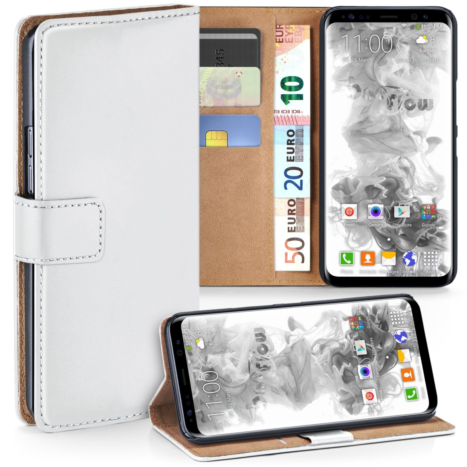 Galaxy S8 Wallet Case, OneFlow [Credit Card Holder Slots and Kickstand] PU Wallet Case for Samsung Galaxy S8 Faux Leather Flip Folio Cover - PEARL-WHITE