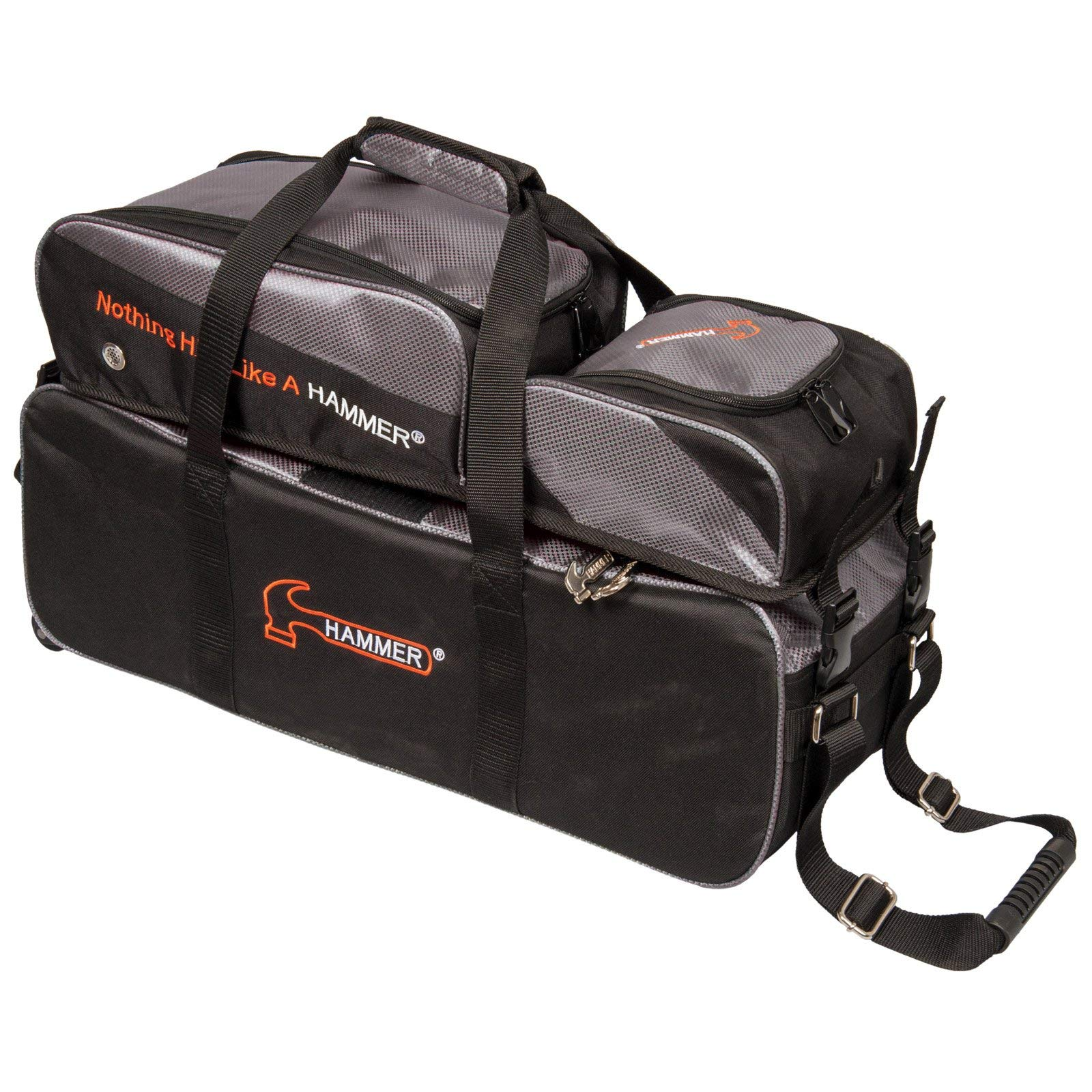 Hammer Premium Deluxe Triple Tote with Removable Pouch Bowling Bag, Black/Carbon