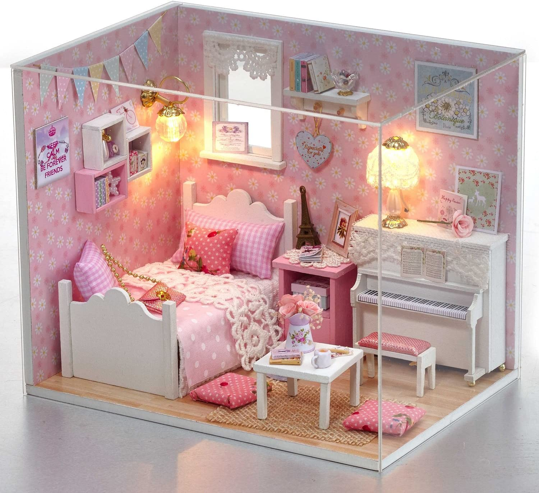 DIY Holz Puppenhaus Handmade Miniatur Kit LED Princess Schlafzimmer Modell /& alle M/öbel