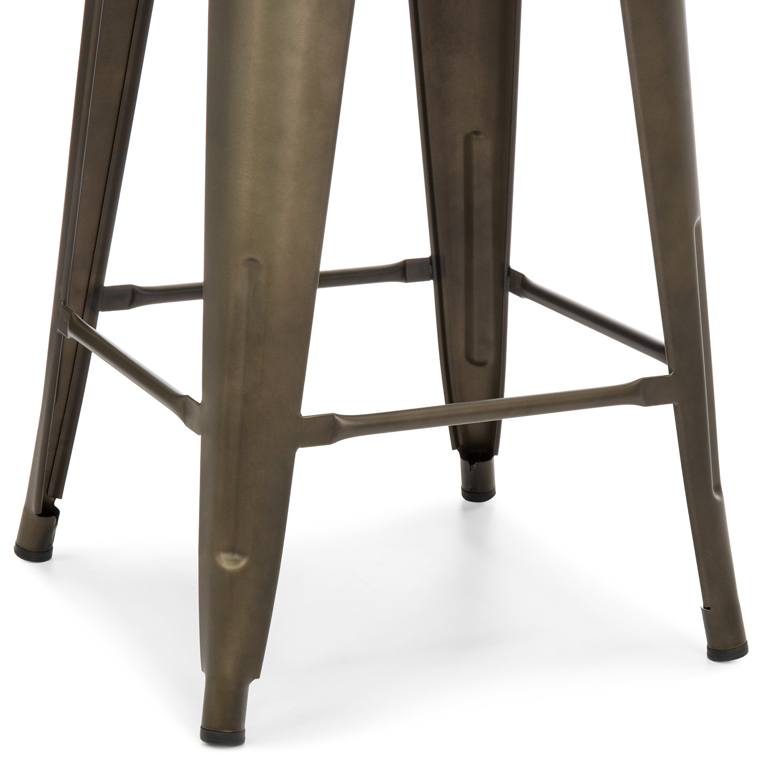 Best Choice Products 24in Set of 4 Stackable Industrial Distressed Metal Counter Height Bar Stools w/Wood Seat - Copper by Best Choice Products (Image #4)