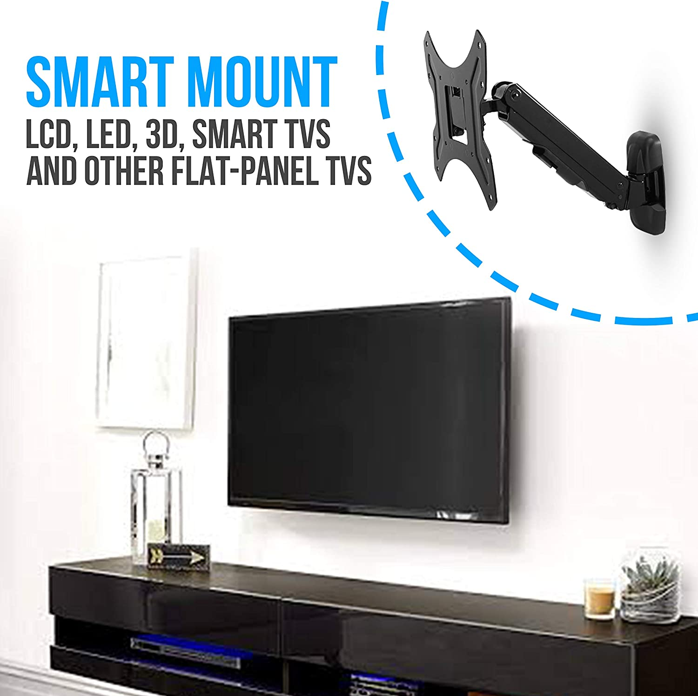 Universal Adjustable TV Wall Mount - Slim Quick Tilt VESA Mounting Bracket for TV Monitor w/ Swivel Tilting, Mounts 26 to 37 Inch LED, LCD, Plasma, Flat, Ultrawide Smart Television - Pyle PSW601SUT